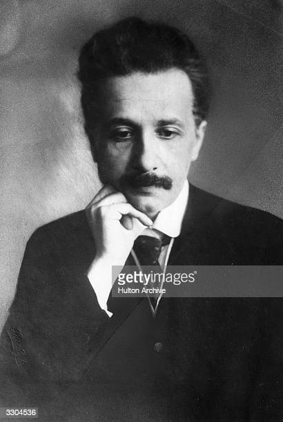 Albert Einstein the GermanSwissAmerican mathematical atomic physicist and Nobel prizewinner seen early in his career in a thoughtful pose