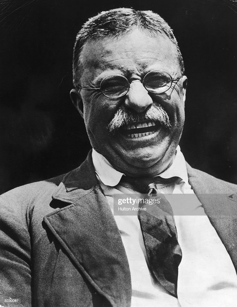 Headshot of American president <a gi-track='captionPersonalityLinkClicked' href=/galleries/search?phrase=Theodore+Roosevelt+-+US+President&family=editorial&specificpeople=71238 ng-click='$event.stopPropagation()'>Theodore Roosevelt</a> (1858-1919) laughing in a jacket and tie.