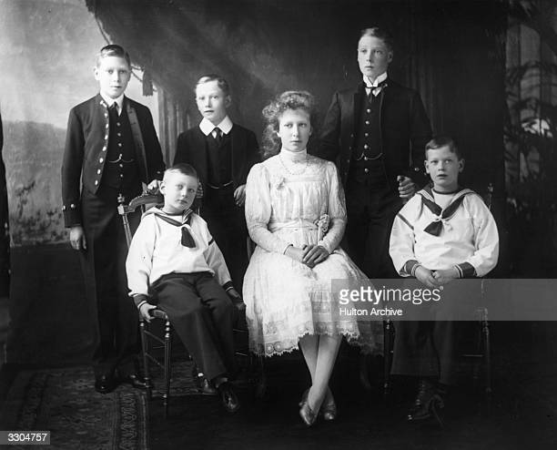 In the centre is the Countess of Harewood Mary Princess Royal with her five brothers including the Duke of Windsor King Edward VIII then Prince of...
