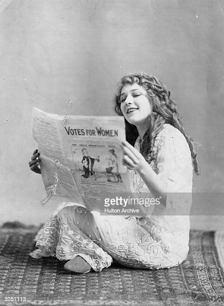 Mary Pickford reading a pamphlet in support of suffragettes