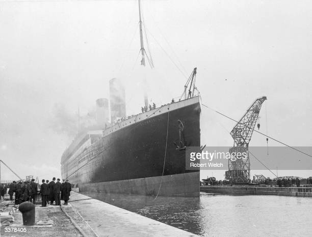 The White Star Royal Mail steamer the Olympic sister ship to the Titanic at Belfast Docks