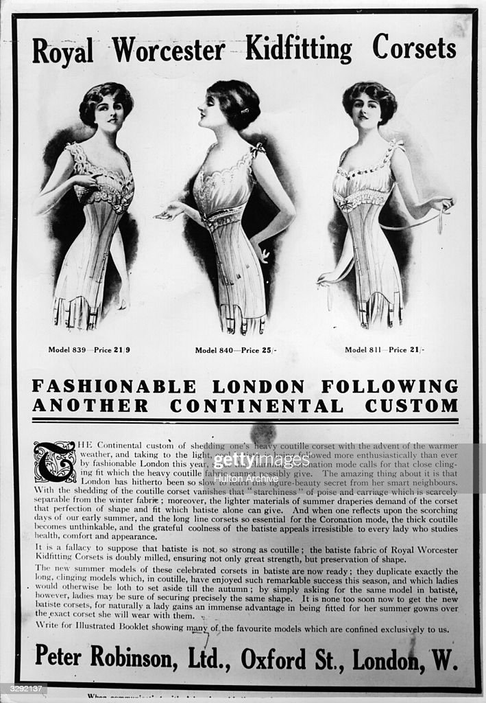 An advertisement for lightweight summer corsets,' Royal Worcester Kidfitting Corsets'. Advertised by Peter Robinson's of Oxford Dtreet. Play Pictorial - pub. 1911