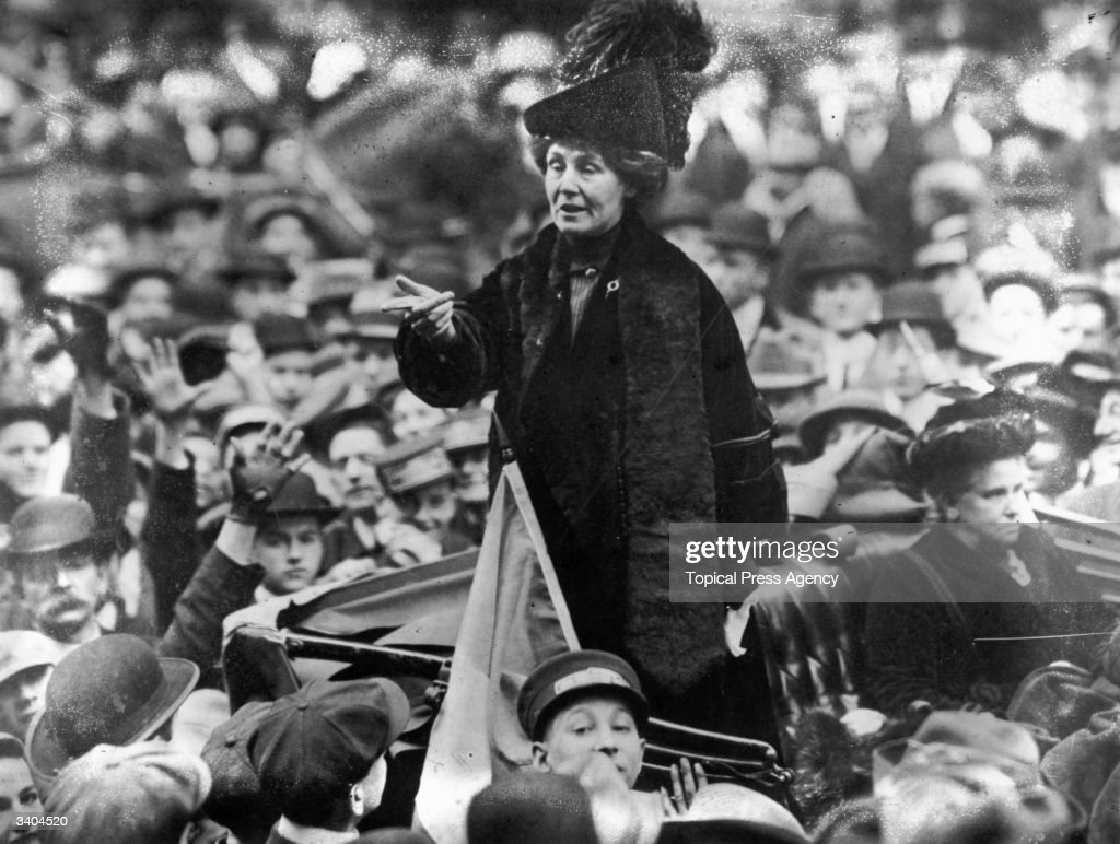 British suffragette Emmeline Pankhurst (1858 - 1928), being jeered by a crowd in New York.