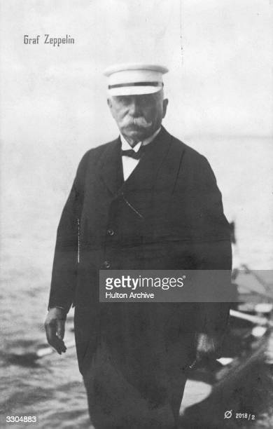 Count Ferdinand von Zeppelin German Army officer and inventor and designer of airships seen in a photograph captioned Graf Zeppelin