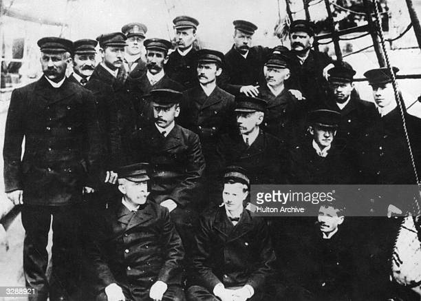 Norwegian explorer Roald Amundsen and members of his Antarctic expedition team