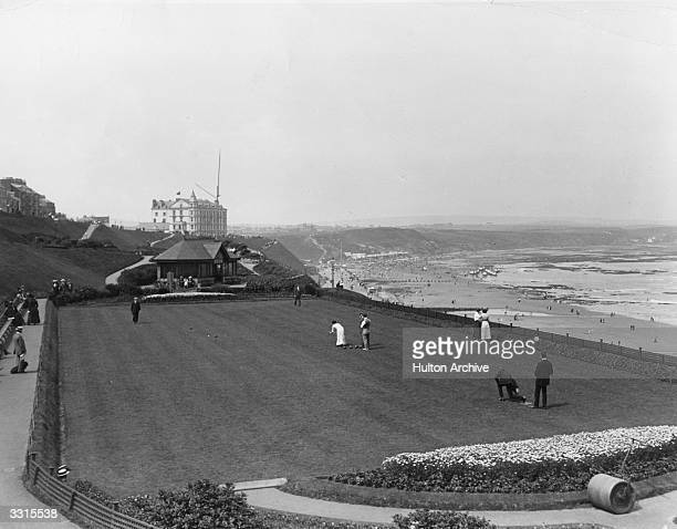 A game of Bowls in progress on the bowling green in Clarence Gardens Scarborough