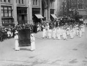 Suffragettes carrying the banner of the Women's Trade Union League of New York on a Labour Day Parade through the city