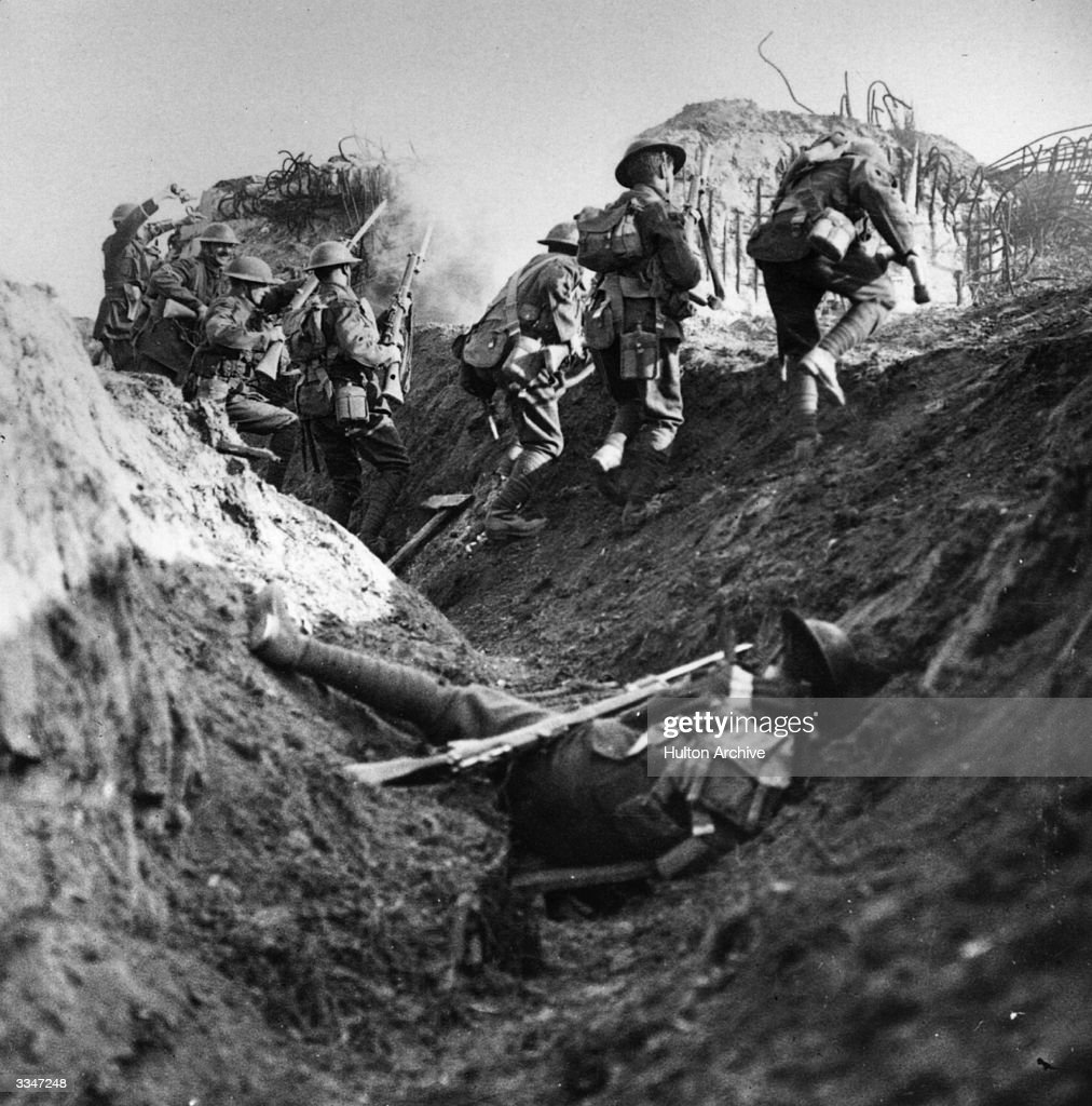 British soldiers in the trenches during World War I Original Publication From 'Official Series The Great War' 'With dogged courage we overcome stiff...