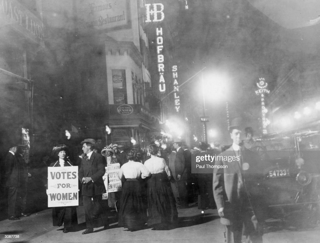 A group of suffragettes campaigning for votes for women on New York's Broadway.