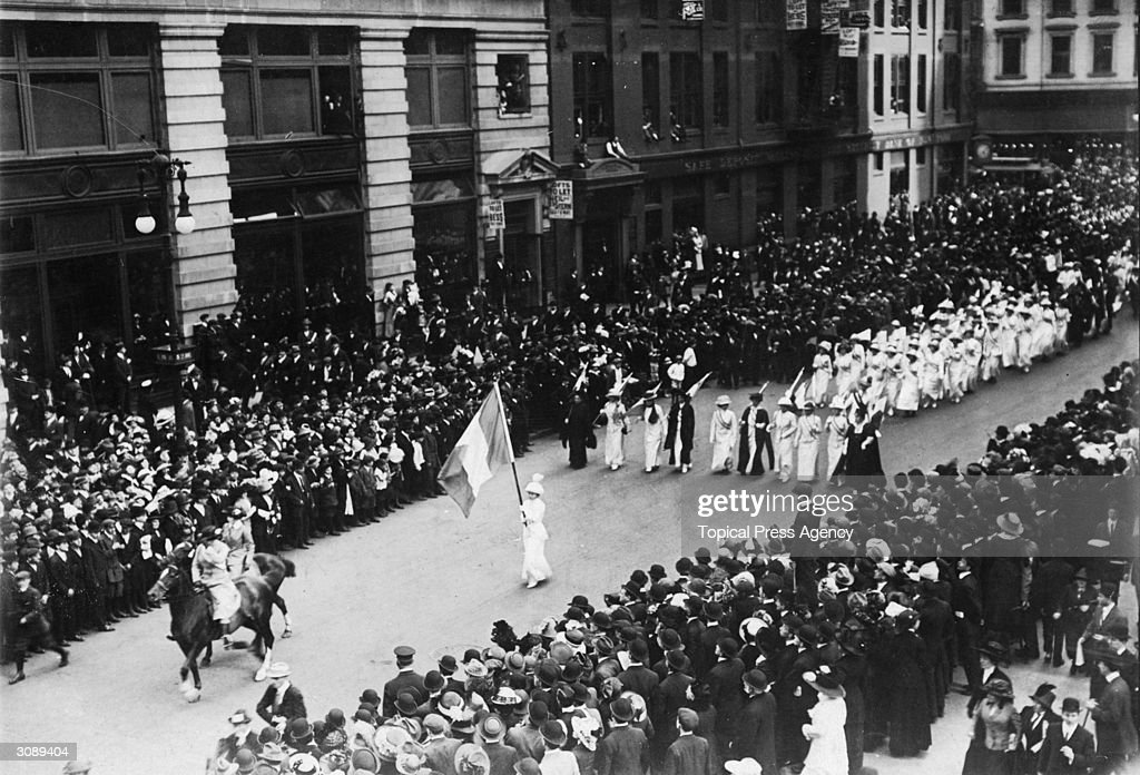 A suffragette procession down Fifth Avenue.