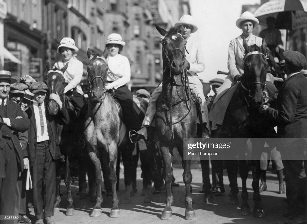 From left to right, Miss Laura Crozier, Miss M Fenn, Miss Harriet Parritt and Mrs Nora Blatch de Forest prepare to commence their horseback tour of New York State in aid of the Women's Suffrage Movement.