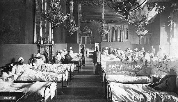 Injured Indian soldiers of the British Army at the Brighton Pavilion converted into a military hospital