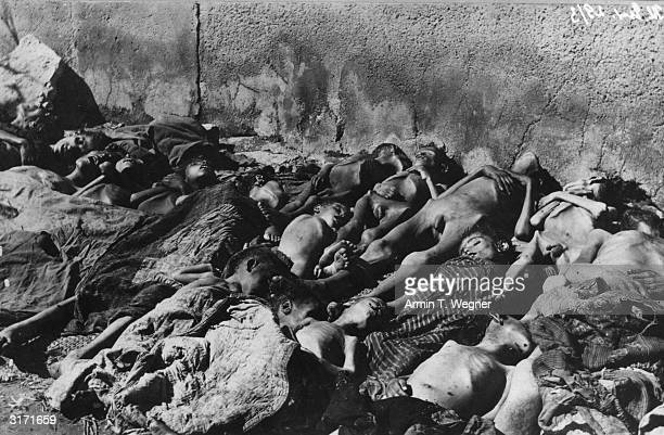 The bodies of Armenian children who were massacred in Turkey during the First World War