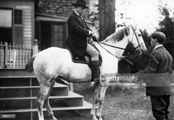 Theodore Roosevelt American politician and future President on horseback
