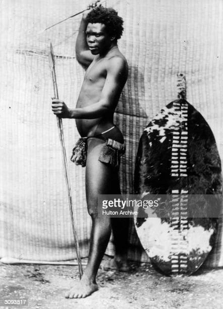 Zulu warrior with spears and a shield made of animal skin