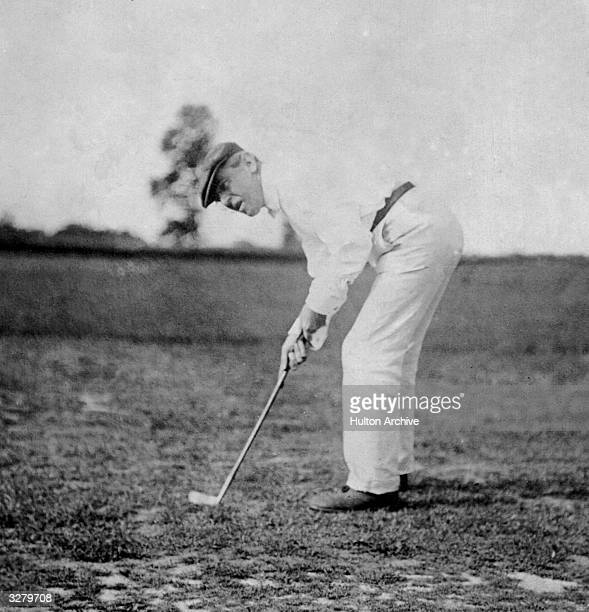 Woodrow Wilson the 28th President of the United States of America playing golf A Democrat he kept America out of the 1st World War until 1917 He...