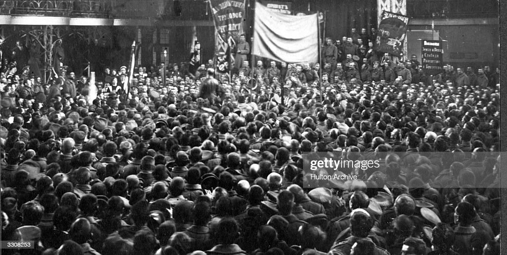 A mass meeting at Narodny Dom (The People's House) at Petrograd (St Petersburg). Original Publication: Russian Album