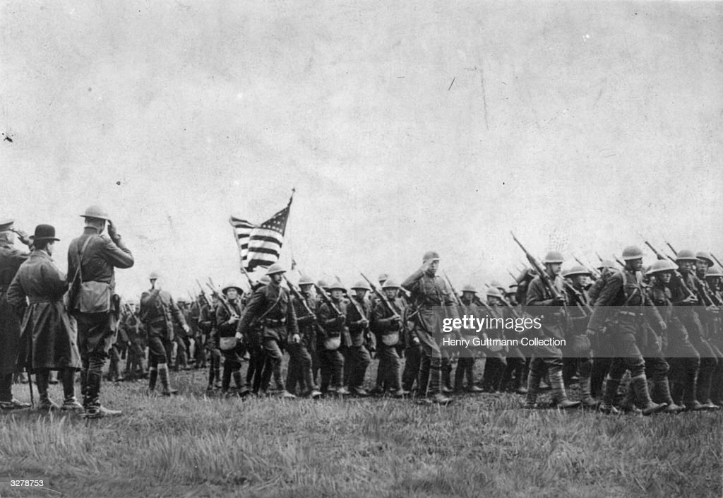 American troops on the march during the First World War.