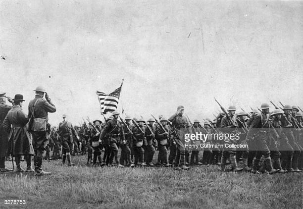 American troops on the march during the First World War
