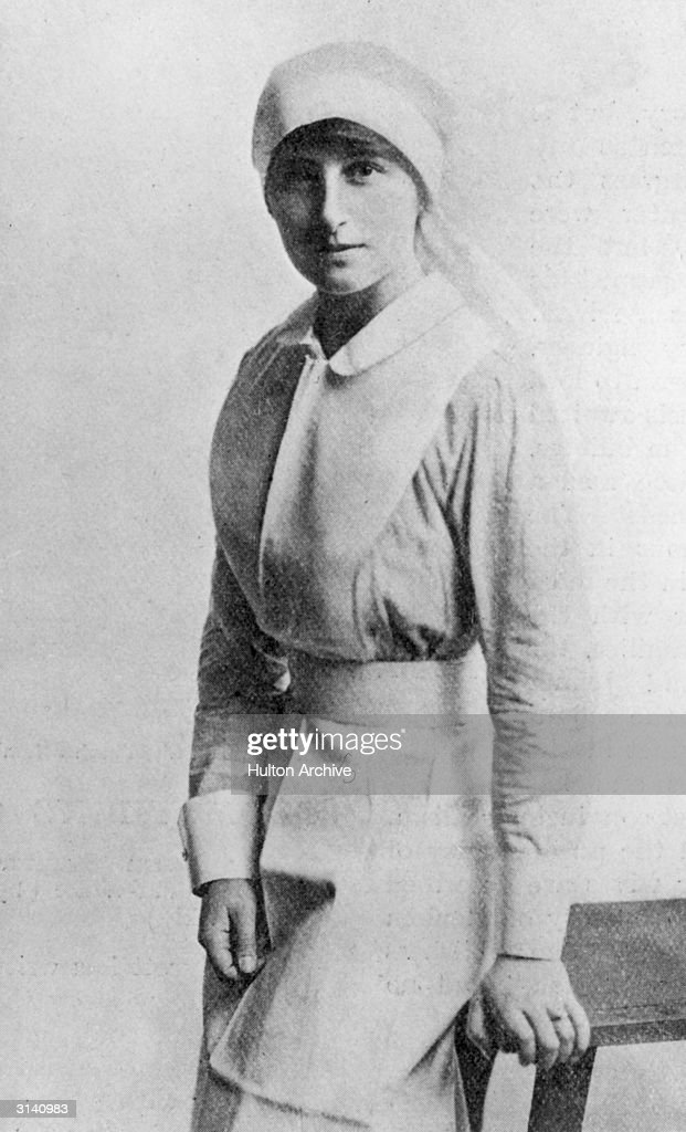 Author Vera Brittain (1893 - 1970) as a nurse in WW I. Her 'Verses of A VAD' have just been reviewed in The Bookman. (Later mother of socialist politician Shirley Williams). VAD stands for 'Voluntary Aid Detachment' a force of women started in WW I to provide medical assistance in times of war.