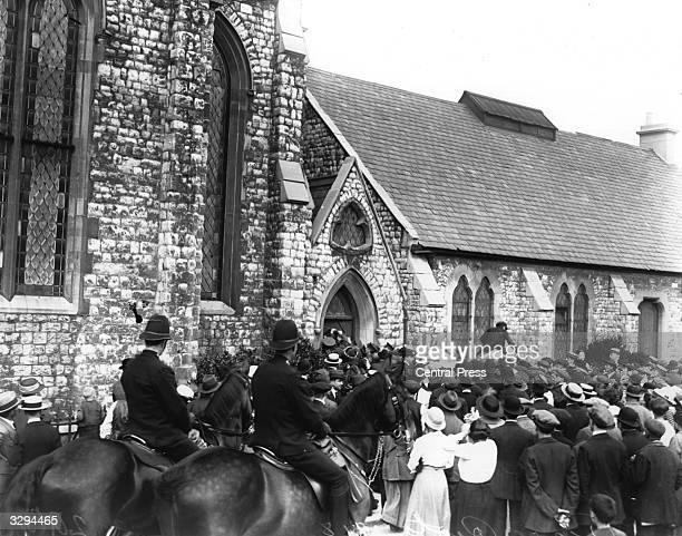 Mounted police at a peace riot at a North London Church at the end of World War I