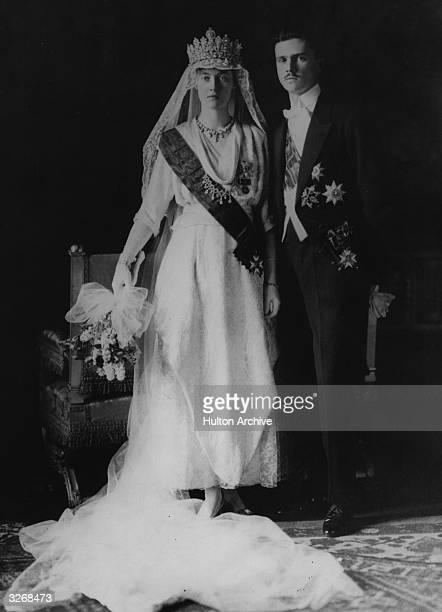 Charlotte Grand Duchess of Luxembourg in her wedding dress with her husband Prince Felix of BourbonParma