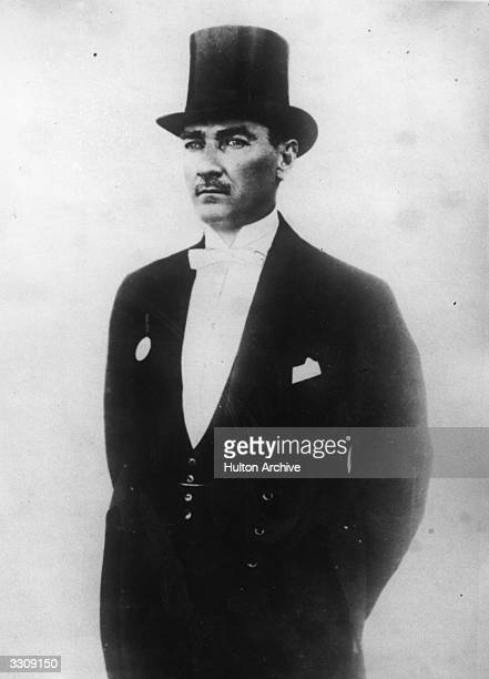 President Kemal Ataturk of Turkey dressed in top hat and tails