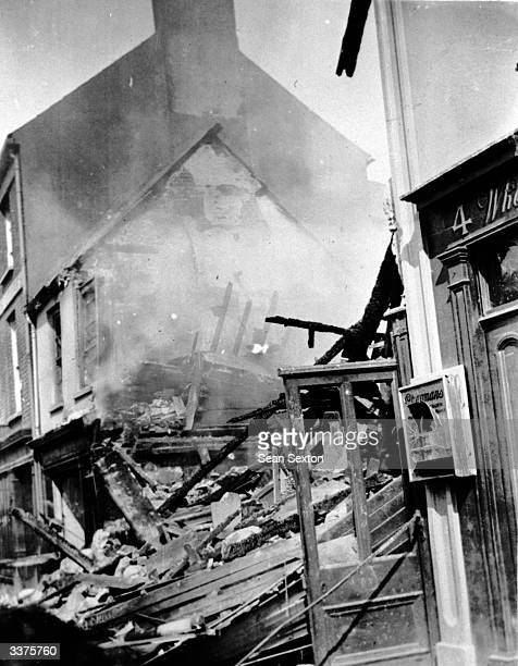 A building burnt out and gutted by Loyalist mobs who went on the rampage at Lisburn in County Down during the Irish War of Independence