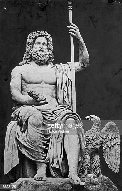 Jupiter the Italian skygod connected with rain storms and thunder who was identified with the Olympian Father of the gods Zeus A Colossal statue...