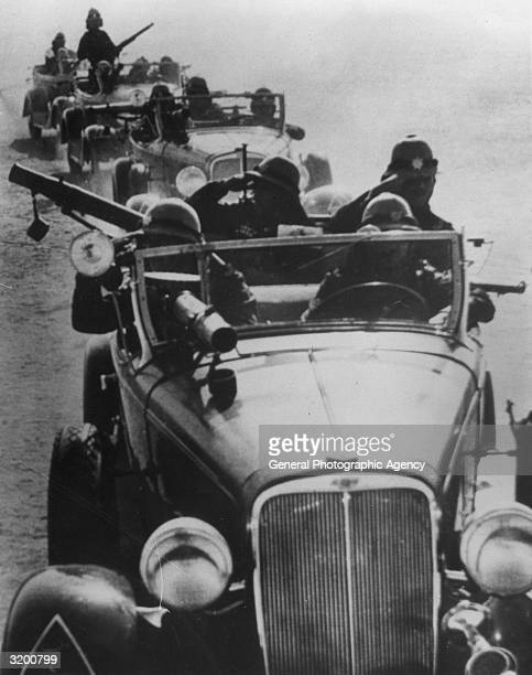 British armoured cars on patrol in the deserts of Iraq during the Mesopotamian campaign