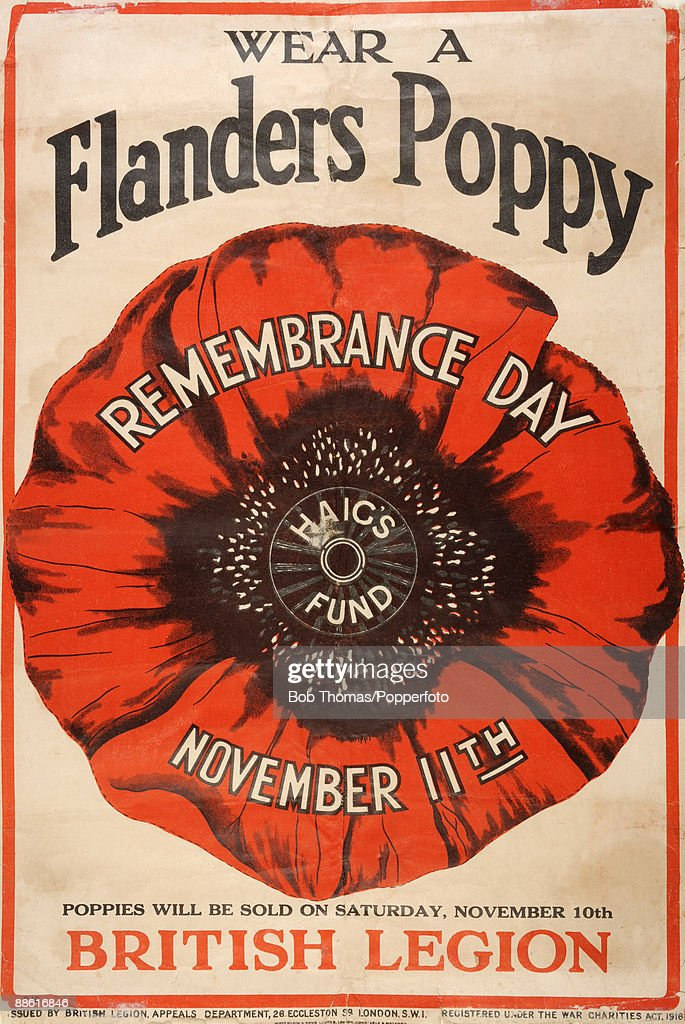 A Remembrance Day poster issued by the British Legion after World War One, reminding people to wear a Flanders poppy on November 11th.