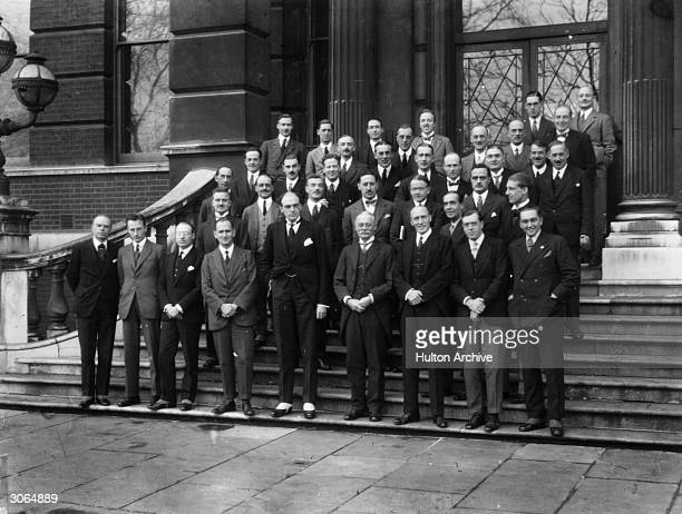 British statesman Sir John Charles Walsham Reith Director General of the BBC with Joseph Albert Pease Gainsford and BBC Consulting Engineer Captain...