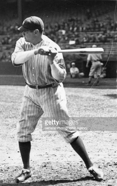 American baseball star George Herman Ruth in action for the New York Yankees