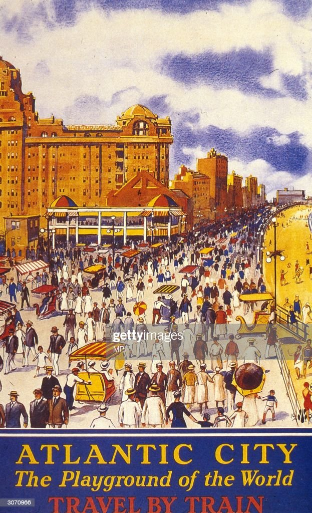 Crowds of holidaymakers grace the promenade at Atlantic City New Jersey 'the playground of the world'