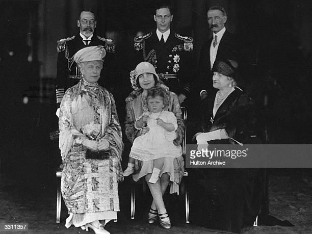 From the left King George V and Queen Mary the Duke of York and Duchess of York with 14 month old Princess Elizabeth and on the extreme right the...