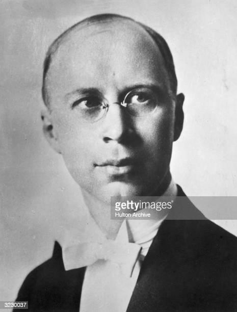 Headshot portrait of Russian composer Sergey Sergeyevich Prokofiev