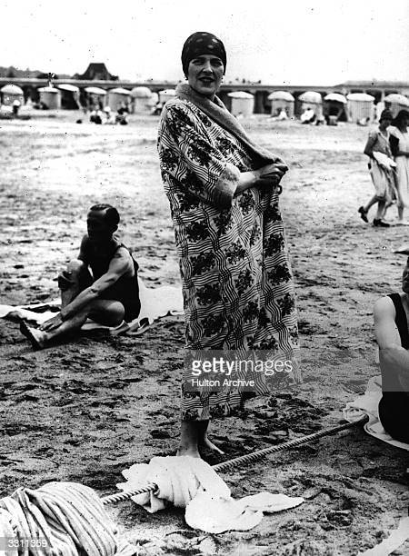 Lady Louis Mountbatten on the beach at Deauville
