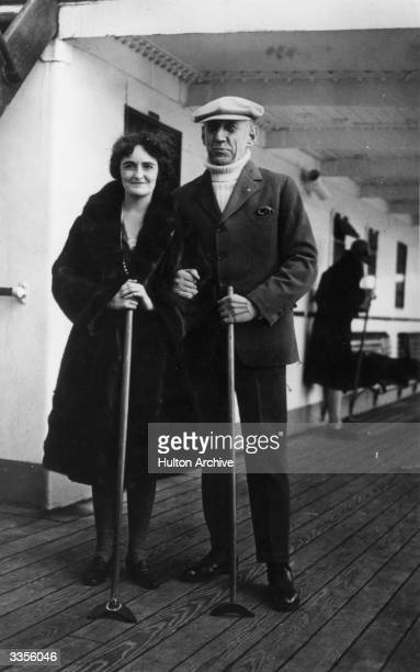 Norwegian polar explorer Roald Amundsen with a companion on board the liner Stavangerfjord returning from America