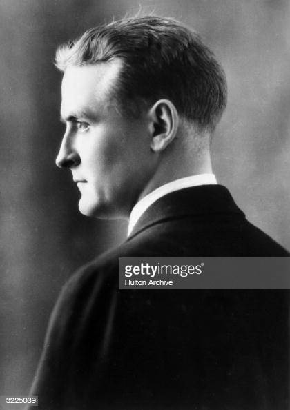 Profile studio headshot portrait of American writer F Scott Fitzgerald