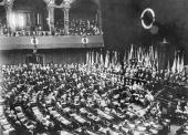 The formal mourning in the Reichstag Berlin for President Ebert with Hindenburg Croner and Haye