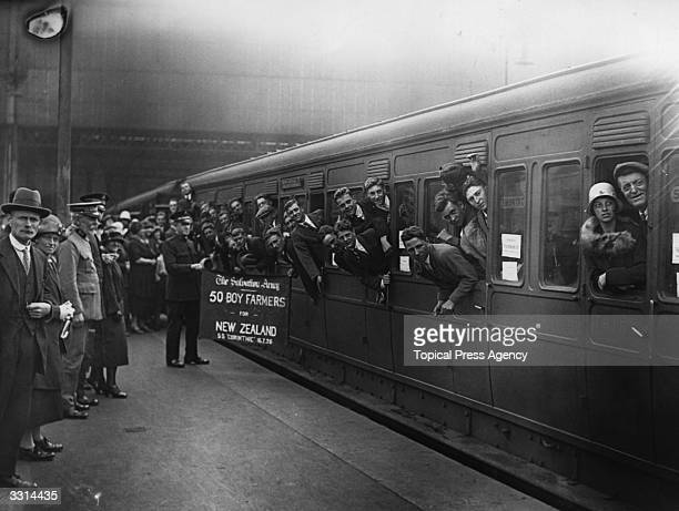 A large party of boy farmers departing from Waterloo Station London on their way to New Zealand