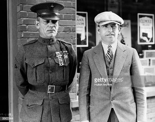 Lon Chaney with his brother Frank Chaney whilst on the set of the film 'Tell It To The Marines' The film was directed by George Hill for MGM