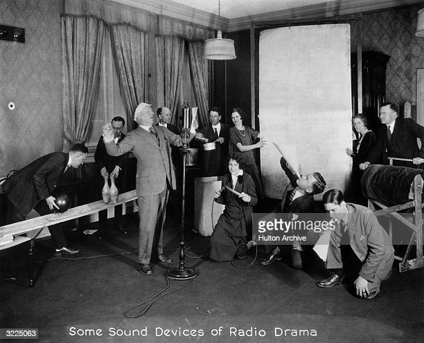 Radio players enact 'Rip Van Winkle' during a broadcast in the WGY sound effects studio Schenectady New York