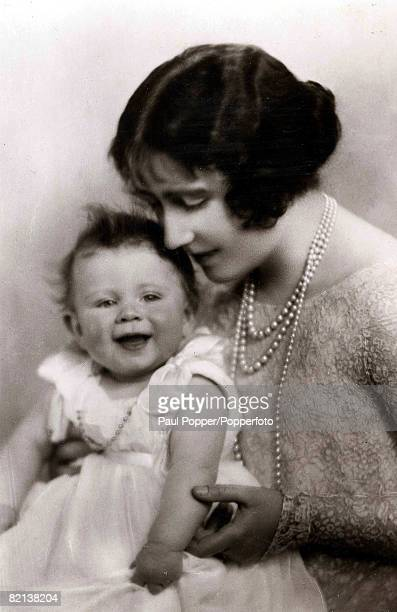 Circa 1926 The Queen Mother pictured as HRH the Duchess of York with her baby daughter Princess Elizabeth