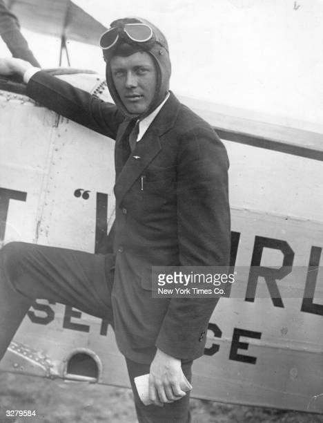 American aviator Charles Lindbergh after flying his monoplane 'The Spirit of Saint Louis' to New Jersey