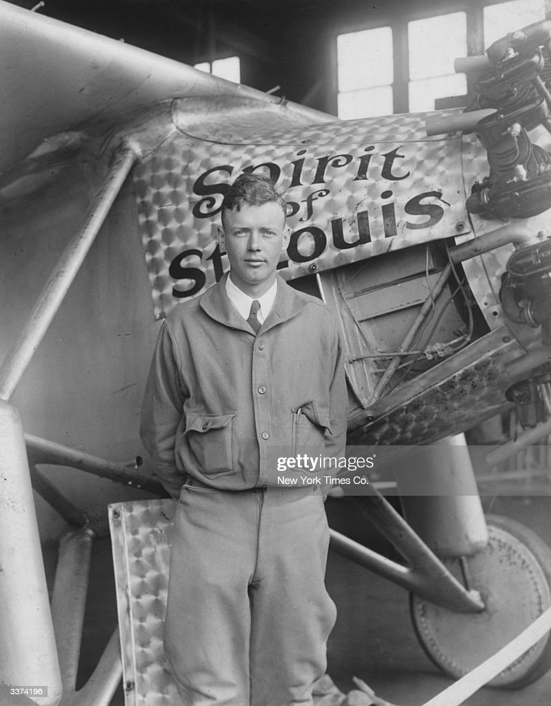 American aviator engineer and Pulitzer Prize winner Charles Augustus Lindbergh and the 'Spirit of St Louis' the plane he flew for the first nonstop...