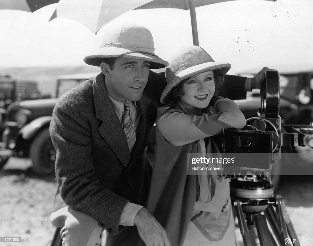Actors John Boles and Nancy Carroll during a pause in the filming of the Zane Grey story 'The Water Hole' which also starred Jack Holt The film was...