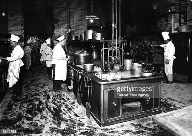 Chefs at work in the Savoy Hotel kitchen