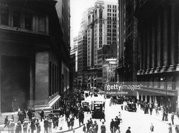 A view south on Broad Street from the corner of Wall Street in New York's Financial District