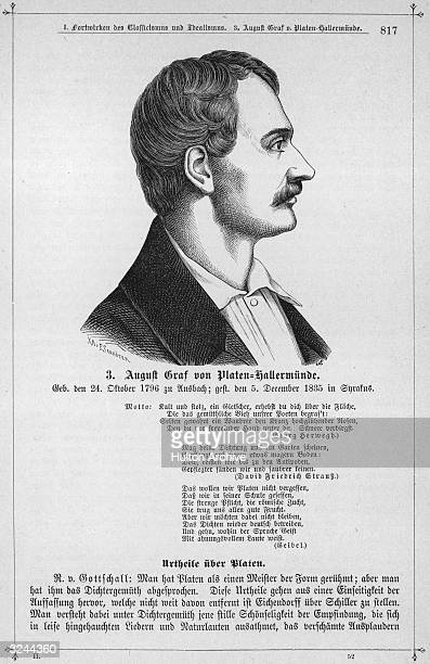August von Platen Count of PlatenHallermund German writer Among his works are 'Sonnets from Venice' 1825 and the 'Abbassids' 1834 and among the plays...